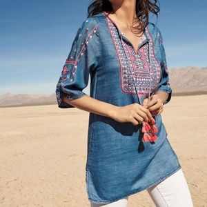Tolani Women Top Megha Embroidered Denim Tunic